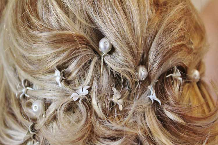 pinned back hairstyle