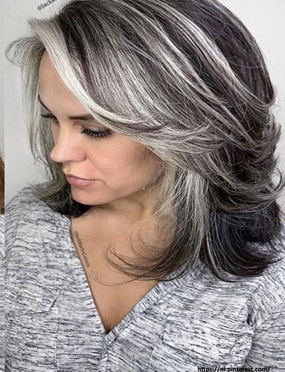 Timeless Layered Grey Hair