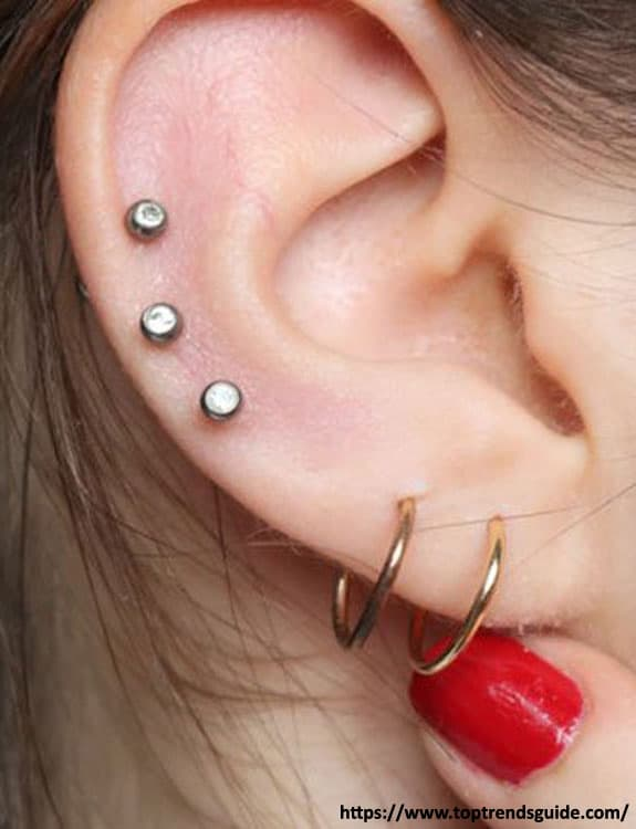 3 Ear Piercings - ear piercing types