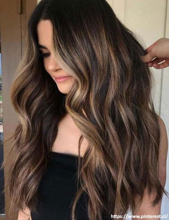 Black Hair With Balayage Highlights