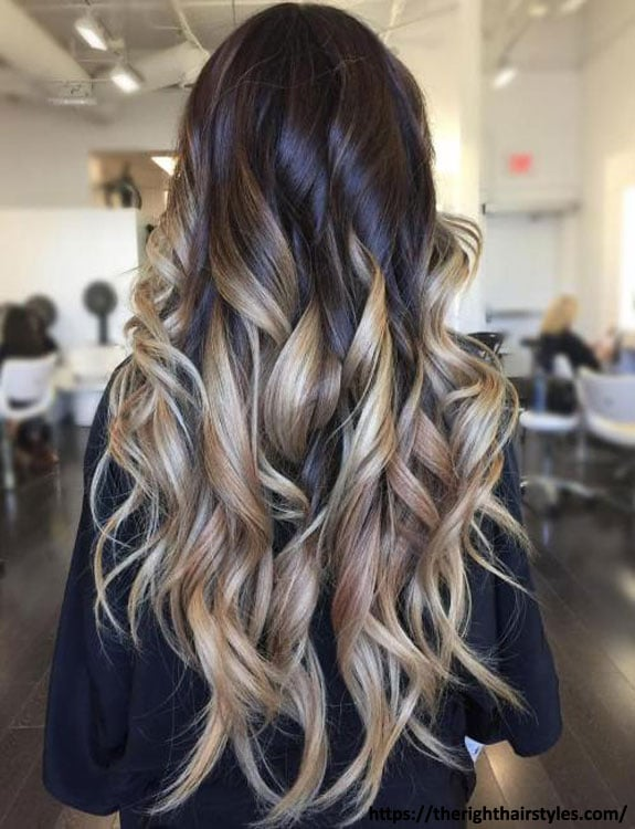 Black Hair With Blonde Ombre Highlights
