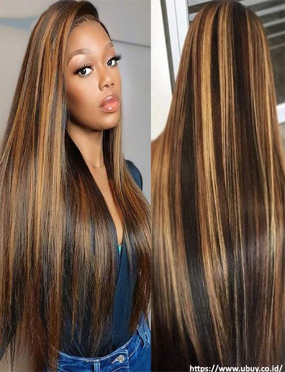 Black Hair With Honey Blonde Highlights