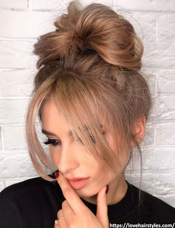 Centre-Parted Layered Bun with Curtain Bangs