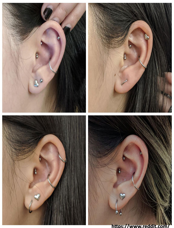 Combination of Piercings - ear piercing types