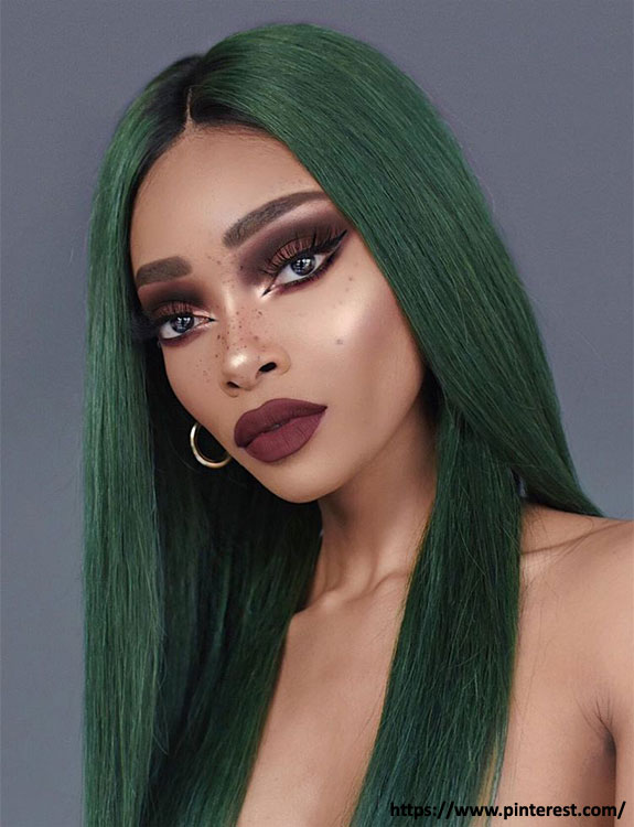Emerald Green Hair hair color for brown skin