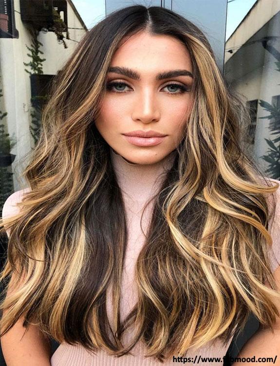 Golden Highlights On Black Hair