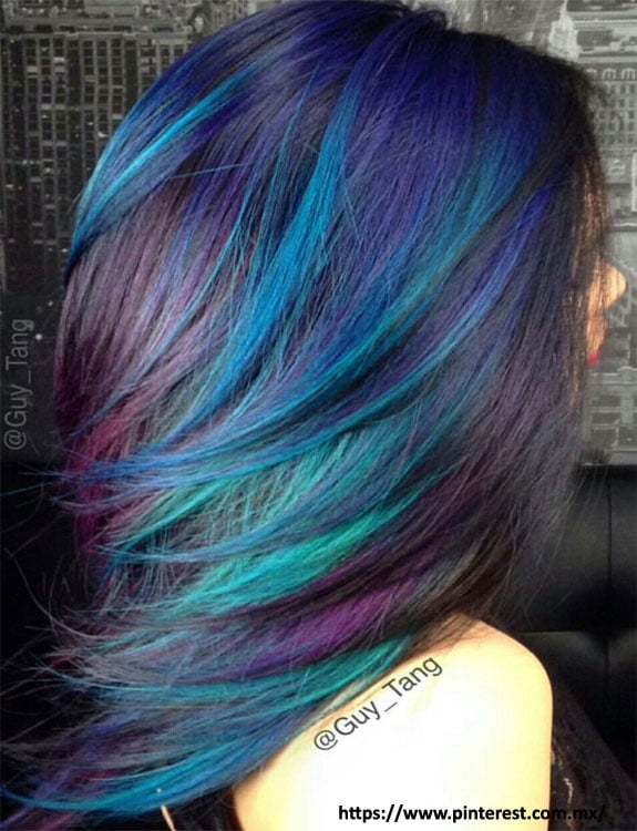 Green And Purple Highlights For Black Hair