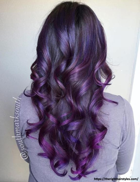 Purple Balayage Highlights