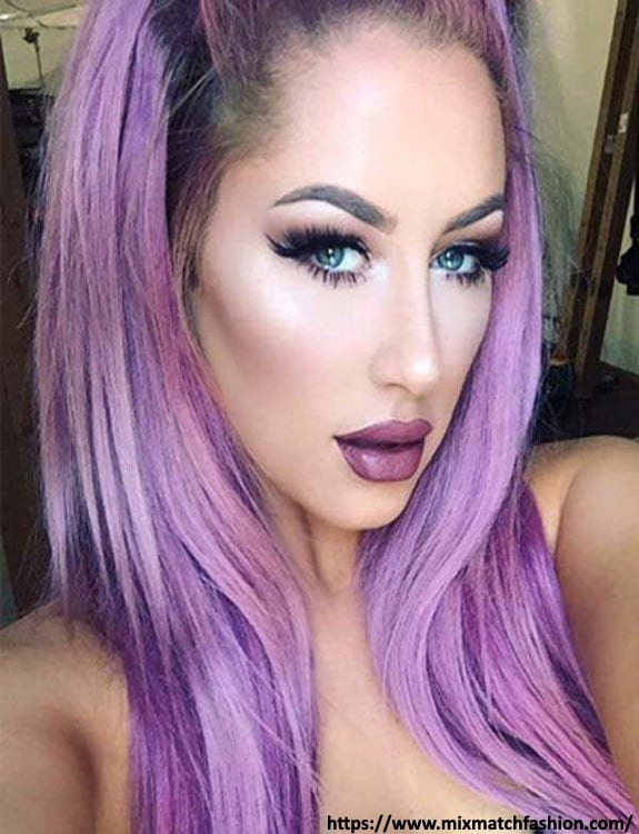 Purple Hair color with Green Eyes