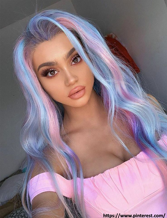 Rainbow Colored hair color for brown skin