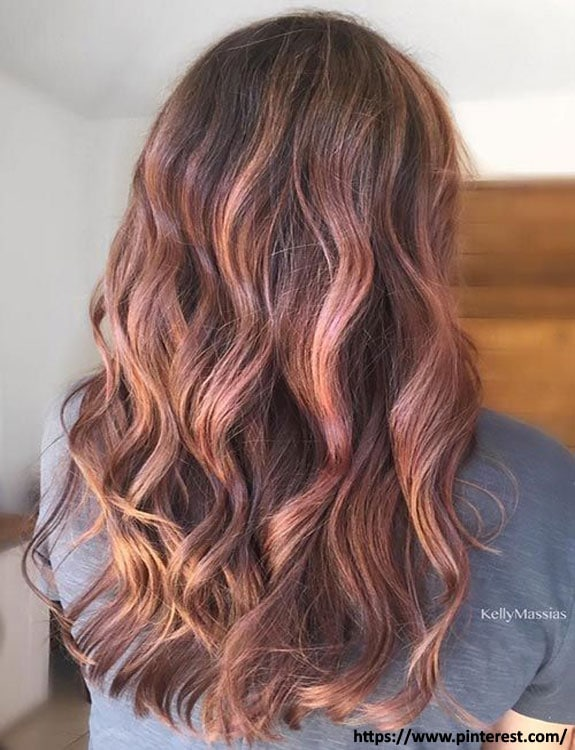 Rose Gold highlights on brown hair hair color for brown skin