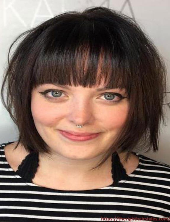 Short A-line Bob with Baby Bangs hairstyles for plus size women