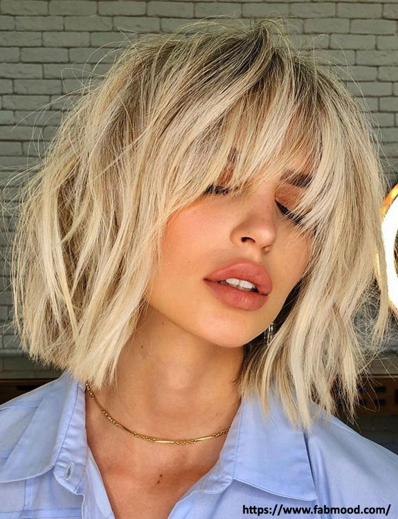 Short Layers with Curtain Bangs