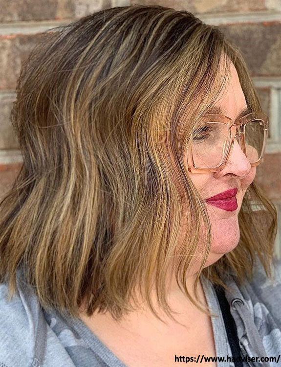 Short Textured Combover Bob hairstyles for plus size women