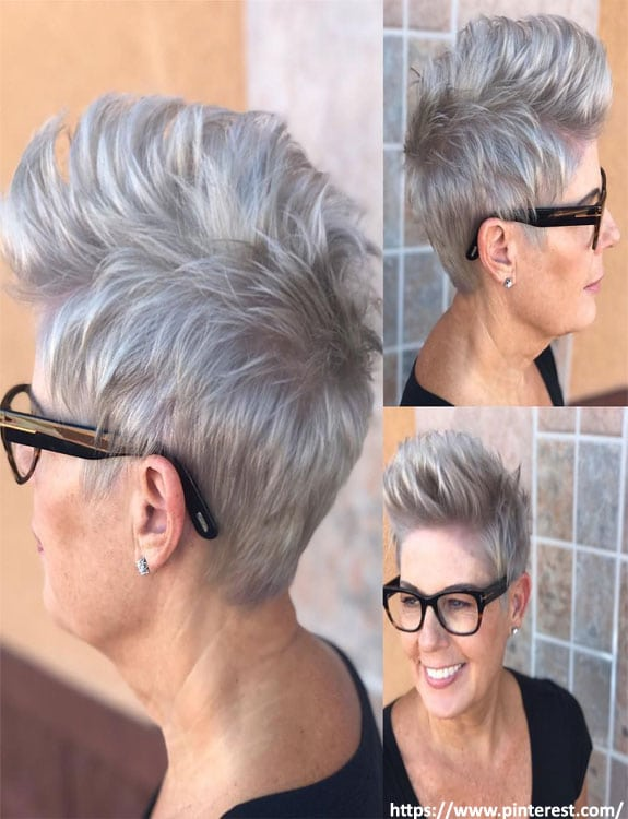Silver Pixie with Brushed Up Bangs