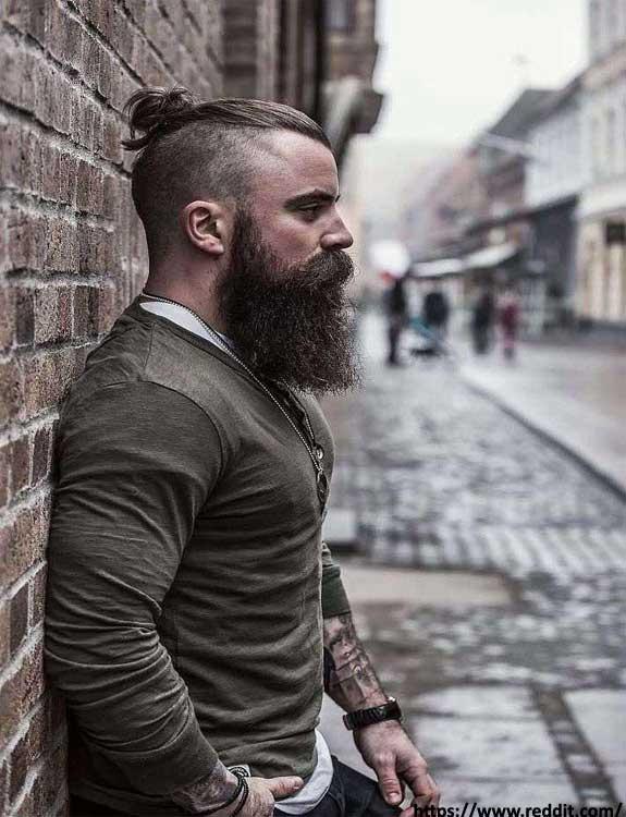Top Knot Undercut With Rugged Beard