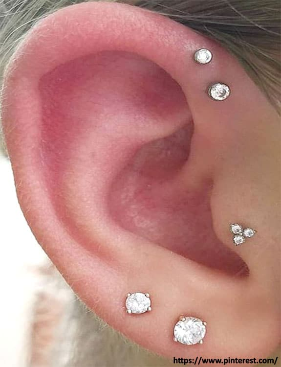 Tragus and helix piercing