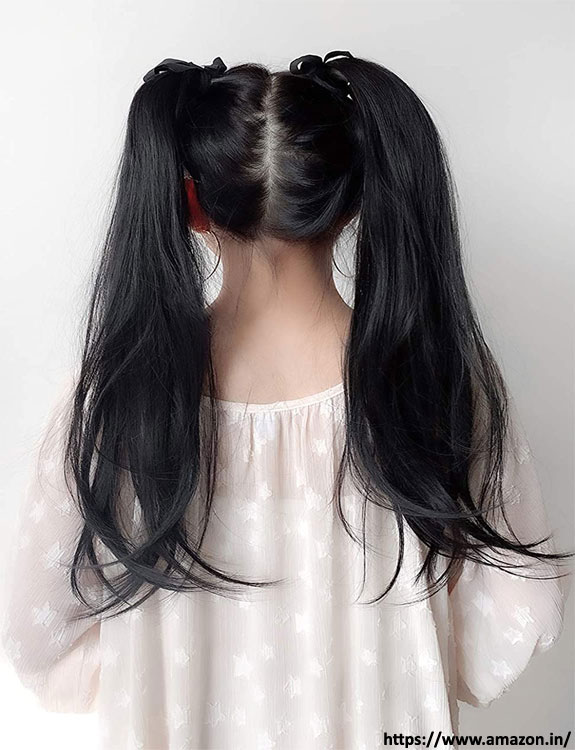 Two-Tiered Ponytail with Curtain Bangs